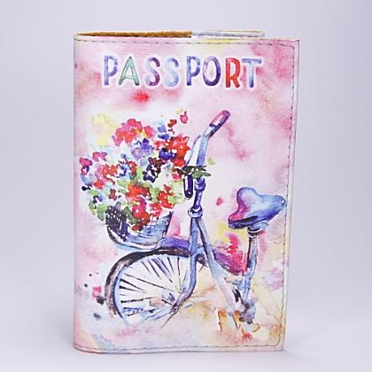 "Обложка на паспорт, ""Велосипед с цветами"", экокожа"
