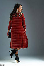 Платье женское нарядное бархатное цвет-терракотовый размеры: 48-50,52-54,56,58-60,62, фото 2