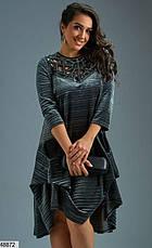 Платье женское нарядное бархатное цвет-терракотовый размеры: 48-50,52-54,56,58-60,62, фото 3