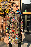 Женская зимняя цветная куртка-пальто на синтепонем манжетами и капюшоном,защитный цвет, 42, 44, 46