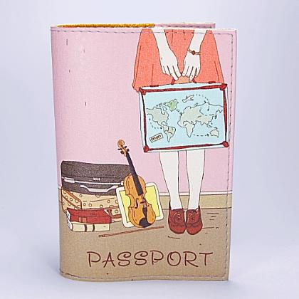 """Обложка на паспорт, """"Девушка с чемоданами"""", экокожа"""