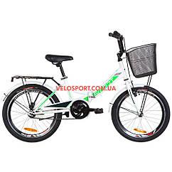 Складной велосипед Formula Smart 20 дюймов с корзиной бело-зеленый