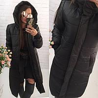 Женская зимняя длинная куртка-пальто с капюшоном и манжетами 42, 44, 46, черная, бордо, синяя