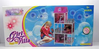 Детский кукольный домик 66888 для Барби3 этажа, балконы,мебель, 5 комнатс лестницей