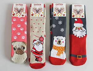 Махровые женские носки «Ekmen» с новогодним принтом