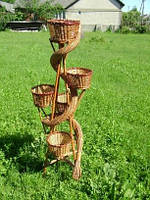 Плетеной цветочник из лозы на 5 горщиков