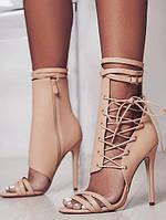 Стильные бежевые босоножки на шнуровке и с молниям, фото 1