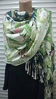 Стильный шарф палантин  из хлопка ,с бахромой