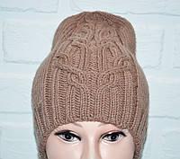 Коричневая женская шапка, красивая вязка, шерсть, ручная работа