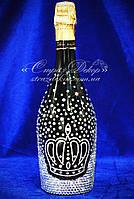 Свадебное шампанское с короной в стразах, фото 1