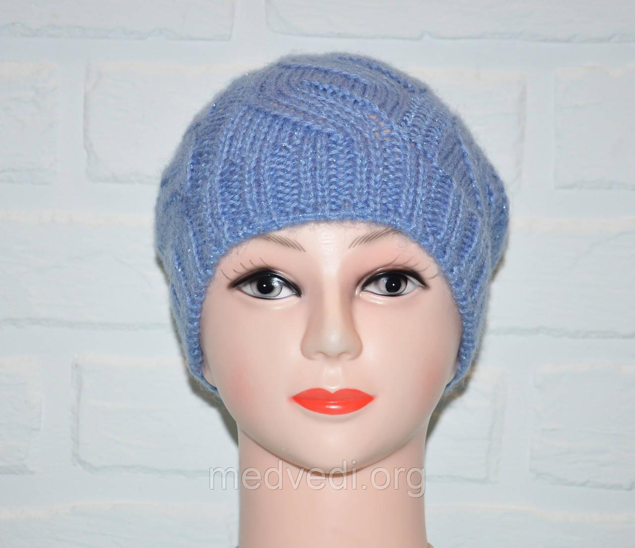 Голубая женская шапка, красивая вязка коса, шерсть, ручная работа
