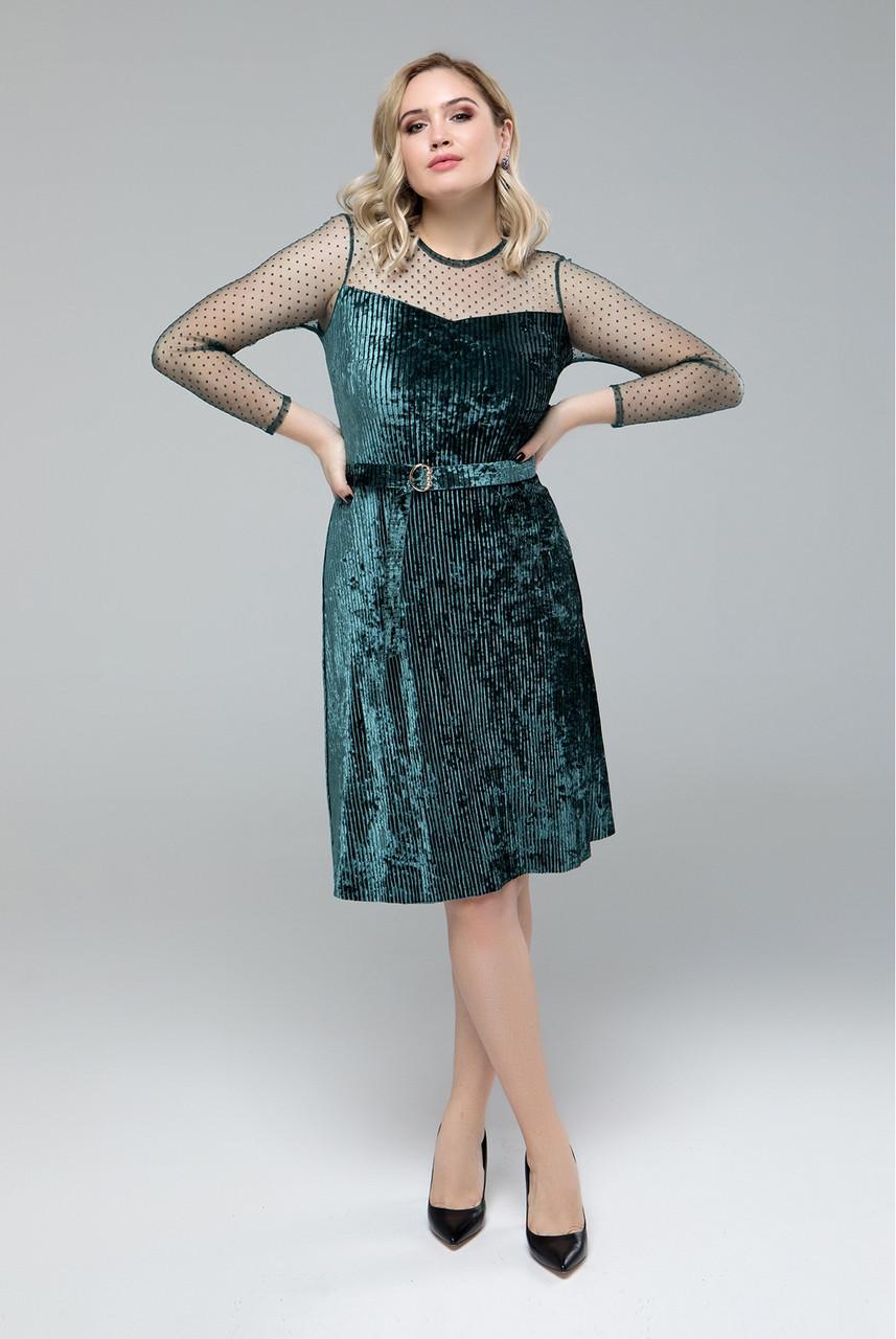 Платье велюровое с сеткой в горох 50-56