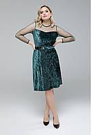 Платье велюровое с сеткой в горох 50-56, фото 1