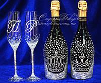 Набор свадебных аксессуаров в стразах (бокалы, шампанское 2 бут.)  , фото 1