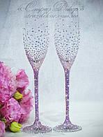 Свадебные бокалы со стразами Сваровски (розовые или золотистые хамелеоны) (Классик)