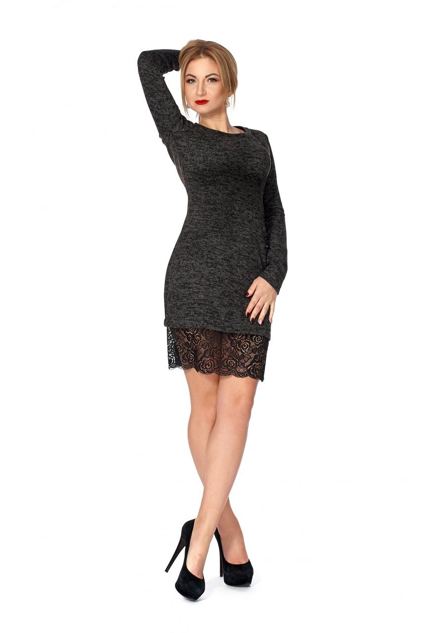 959215f4eeb Короткое женское платье из ангоры черное - Интернет-магазин Buyself.com.ua в