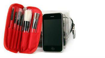 Кисти для макияжа 6 шт.в красном чехле дорожный набор