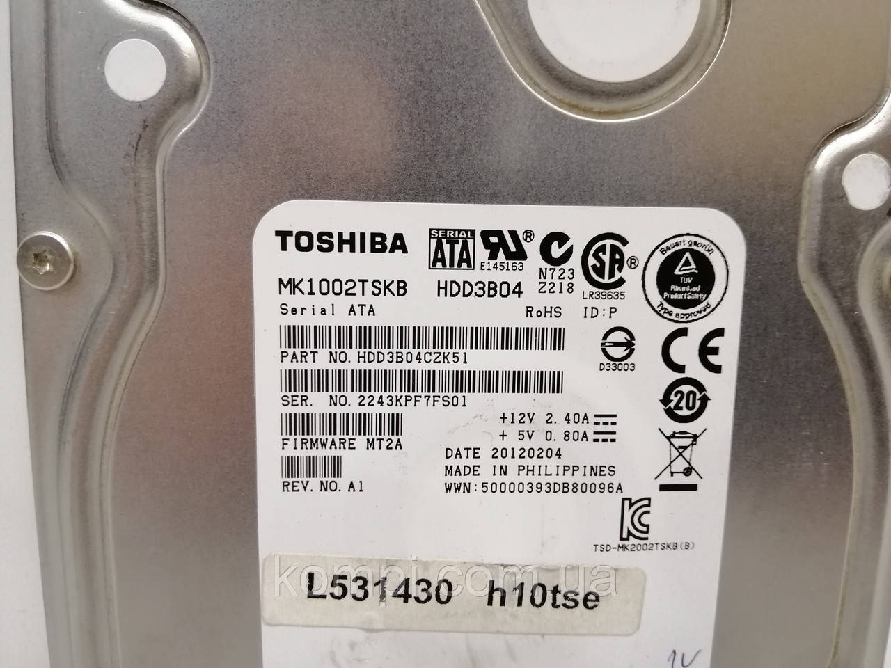 """HDD Жорсткий диск TOSHIBA 1TB 64MB Cache SATA 3.0Gb 3.5 """" для ПК ІДЕАЛЬНИЙ СТАН"""