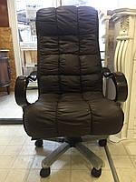 Кресло офисное из натуральной кожи коричневое, фото 1