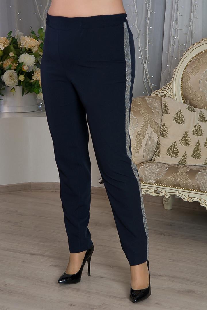 Синие нарядные брюки больших размеров Белла