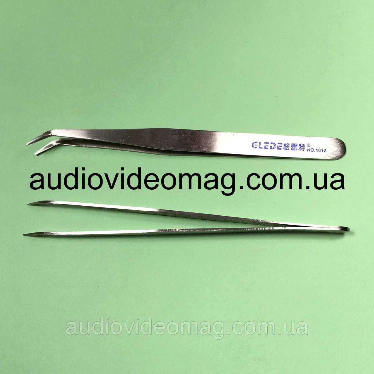 Пинцет немагнитный GLEDE 1012 изогнутый из нержавеющей стали, острые концы