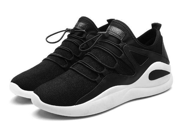 Черные с белым кроссовки для спорта мужские