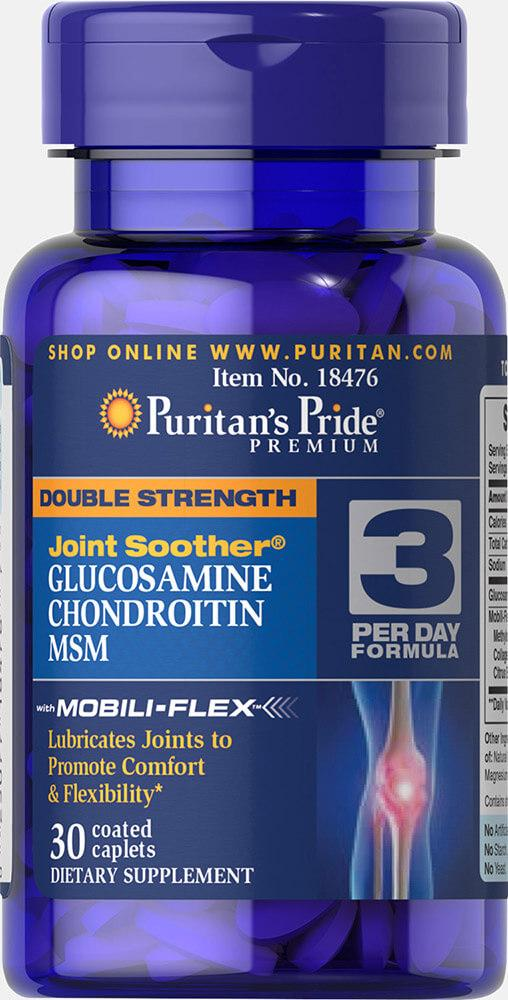 Puritan's Pride Double Strength Glucosamine, Chondroitin & MSM 30 caplets