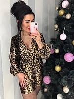 Леопардовый шелковый комбинезон
