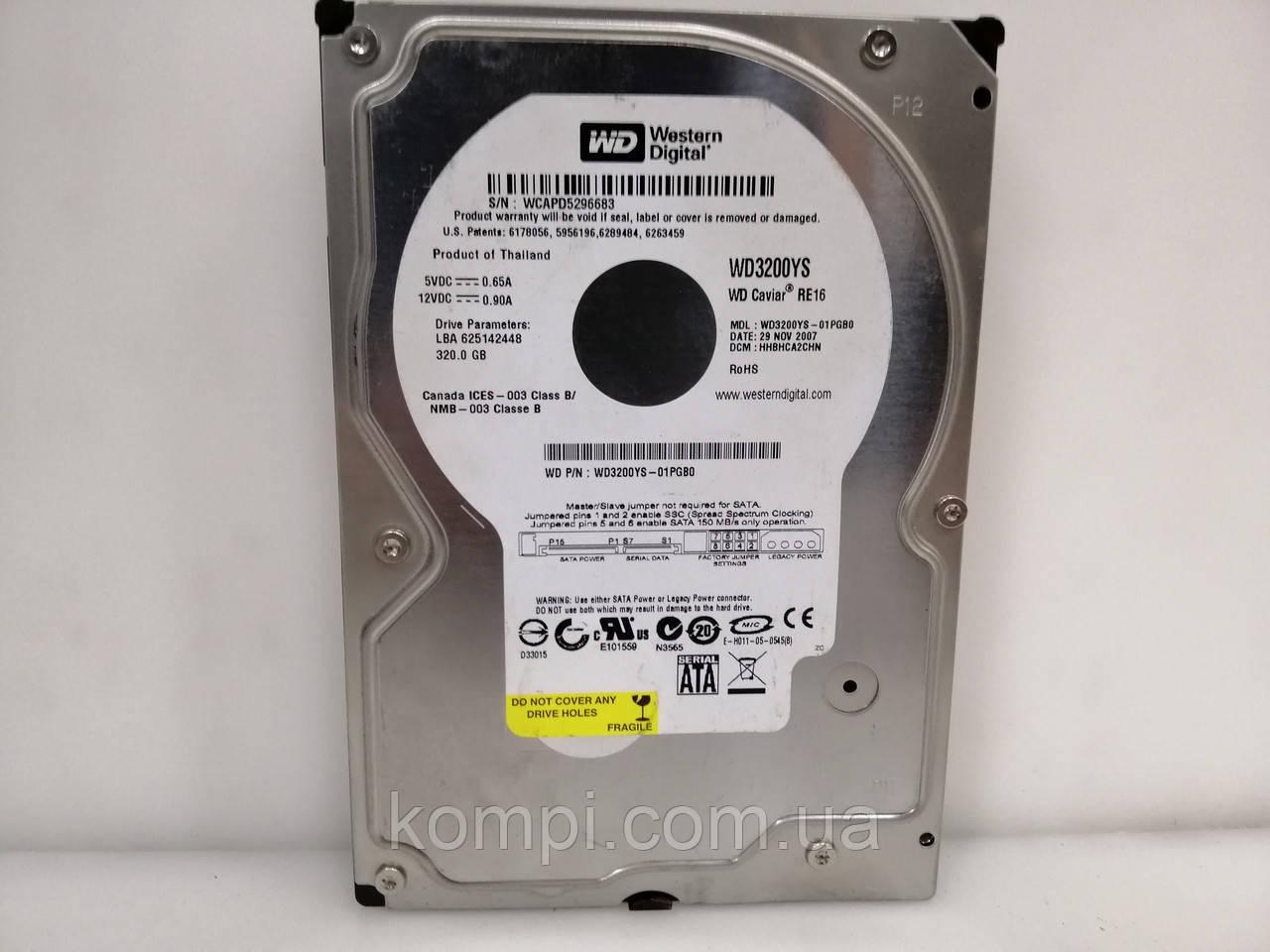 HDD Жорсткий диск Western Digital 320GB 7200prm 16MB SATAII для ПК ІДЕАЛЬНИЙ СТАН