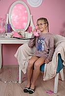 Тёплое платье Сова паетки 116-152, фото 1