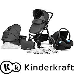 Универсальная детская коляска с автокреслом Kinderkraft Moov 3 в 1 black