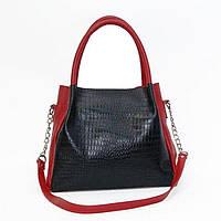 Красно-чёрная кожаная женская сумка BagTop арт. BTJS-33-1 c1e8243c09179