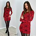 Красное мини платье с леопардовым принтом, фото 2