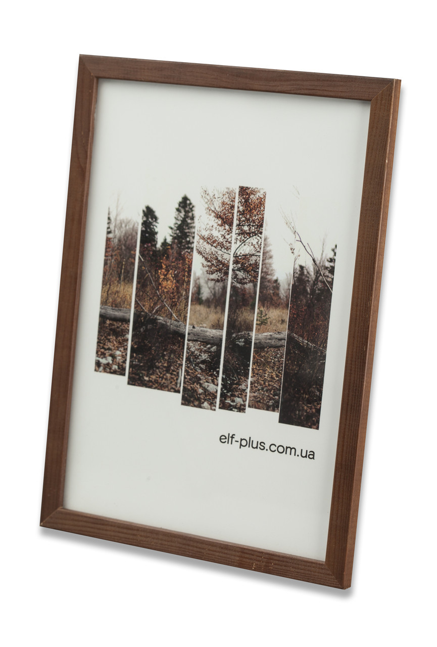 Рамка а4 из дерева - Сосна коричневая тёмная 1,5 см - со стеклом