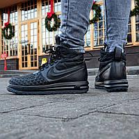 """Мужские кроссовки зимние Nike Lunar Force 1 Duckboot '17 """"Black"""" Реплика"""