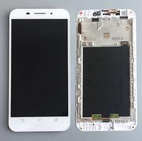 Дисплей (экран) для Asus ZenFone Max (ZC550KL) + тачскрин, белый, с передней панелью