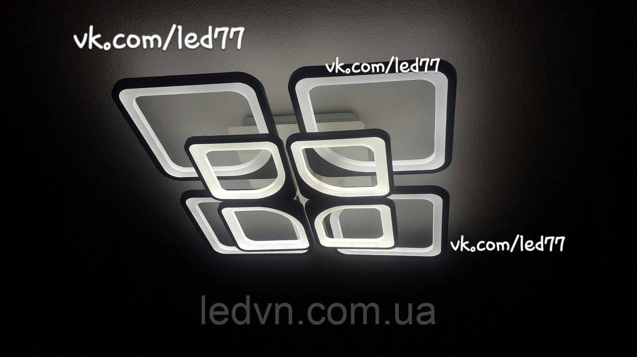 Светодиодная led люстра 4+4квадрата черная с диммерным пультом 165ватт 60×60 см