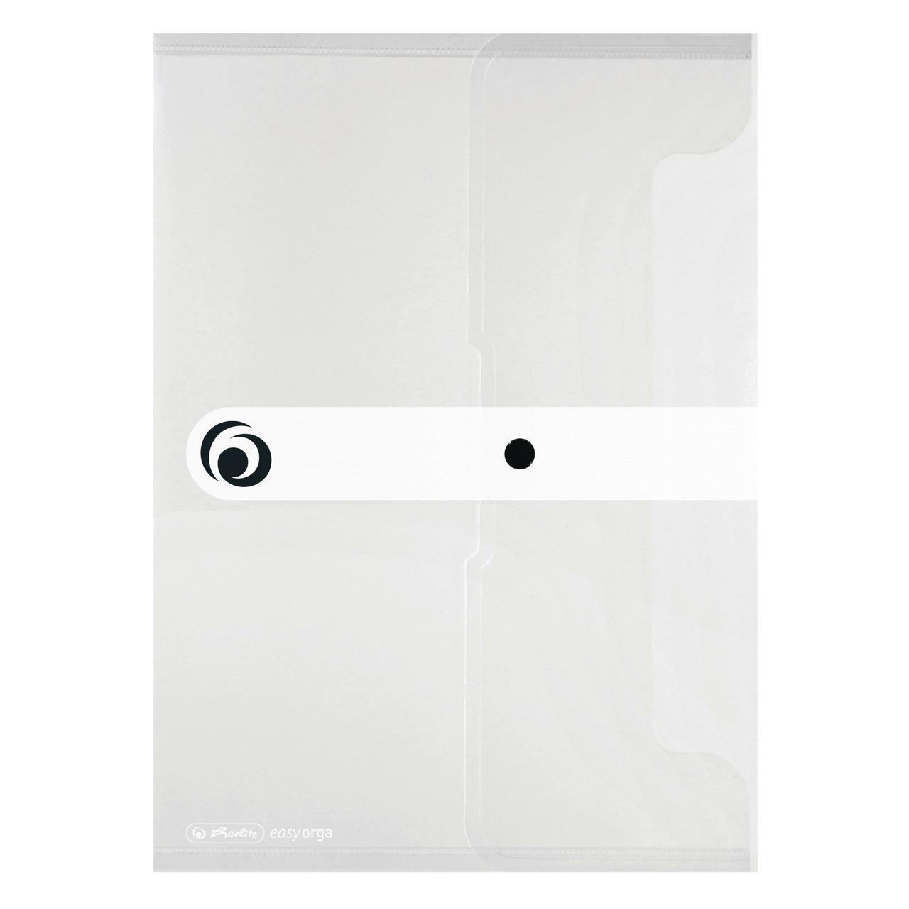 Папка на кнопке Herlitz А4 200мкм Easy Orga To Go бесцветная полупрозрачная (11206653)