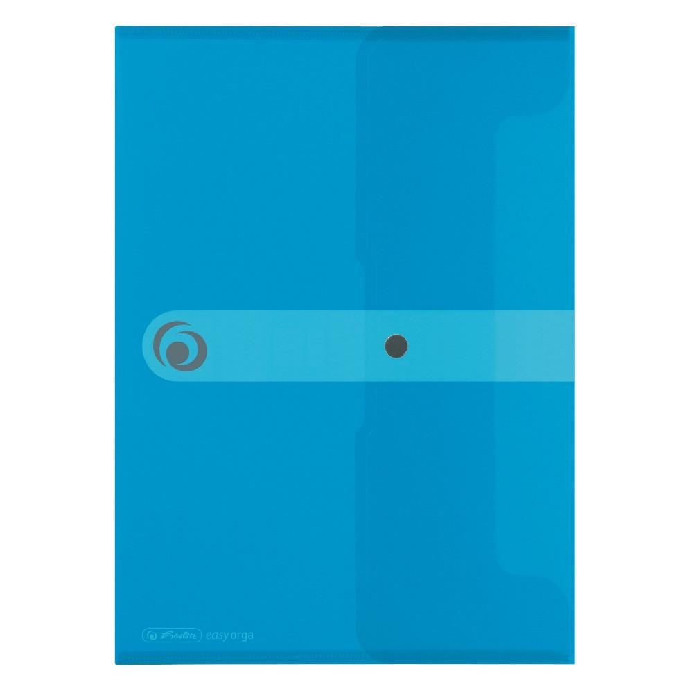 Папка на кнопке Herlitz А4 200мкм Easy Orga To Go голубая полупрозрачная (11206687)