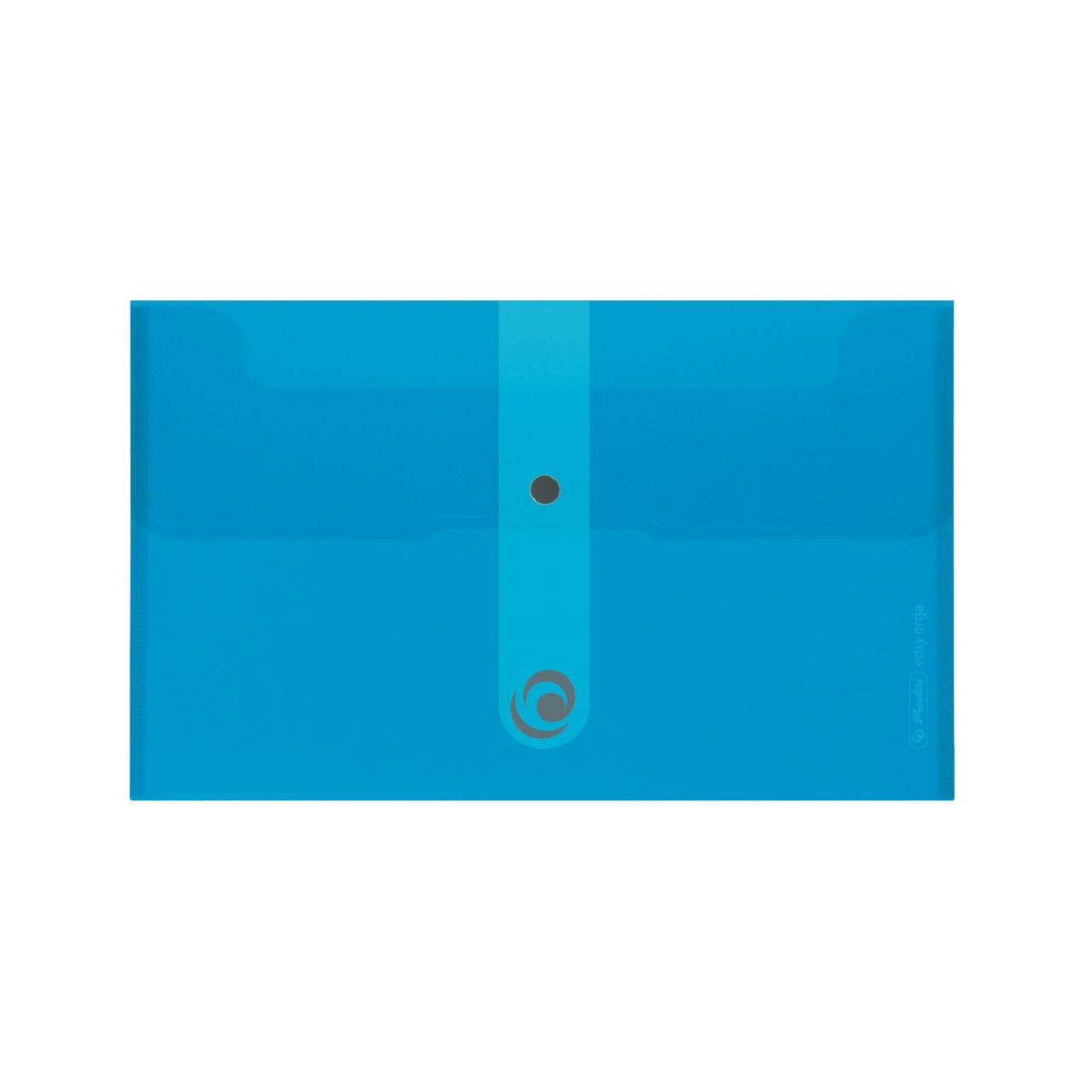 Папка на кнопке Herlitz 22.5x13см 200мкм Easy Orga To Go голубая полупрозрачная (11207099)