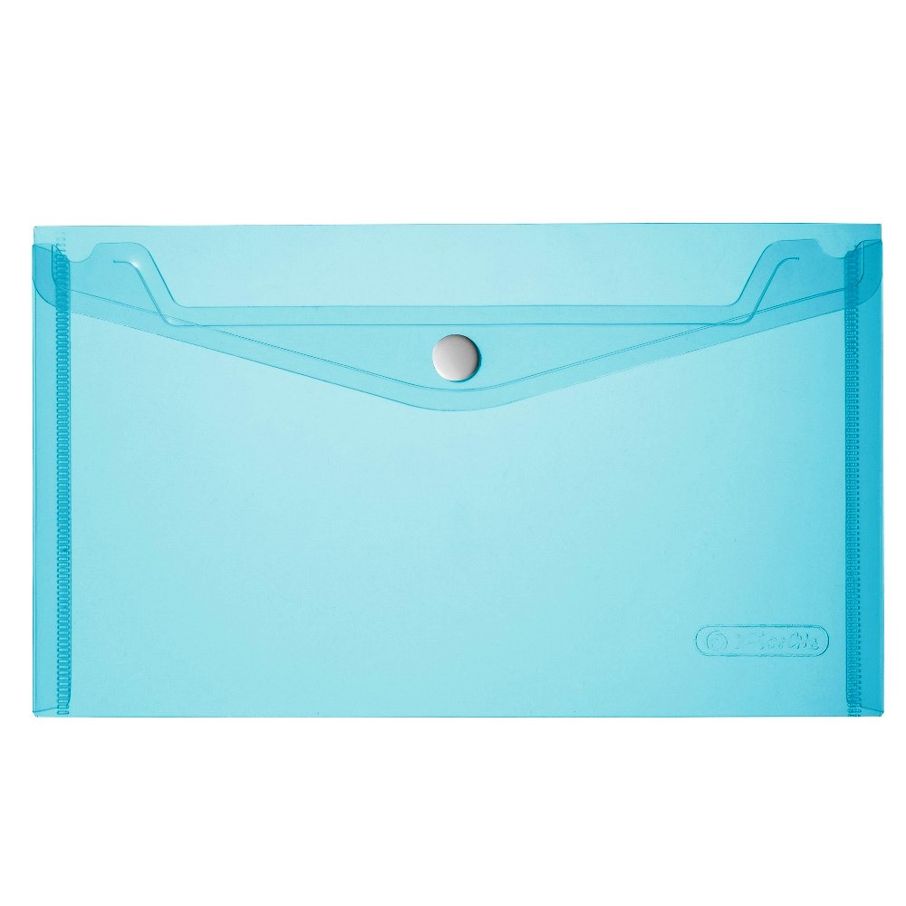 Папка на кнопке Herlitz А5 200мкм голубая прозрачная (10917516)