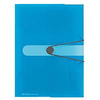 Папка на резинке Herlitz А4 Easy To Go голубая полупрозрачная (11206414)