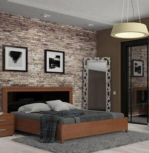 Ліжко з ДСП/МДФ в спальню Белла 1,6х2,0 з каркасом чорний Миро-Марк