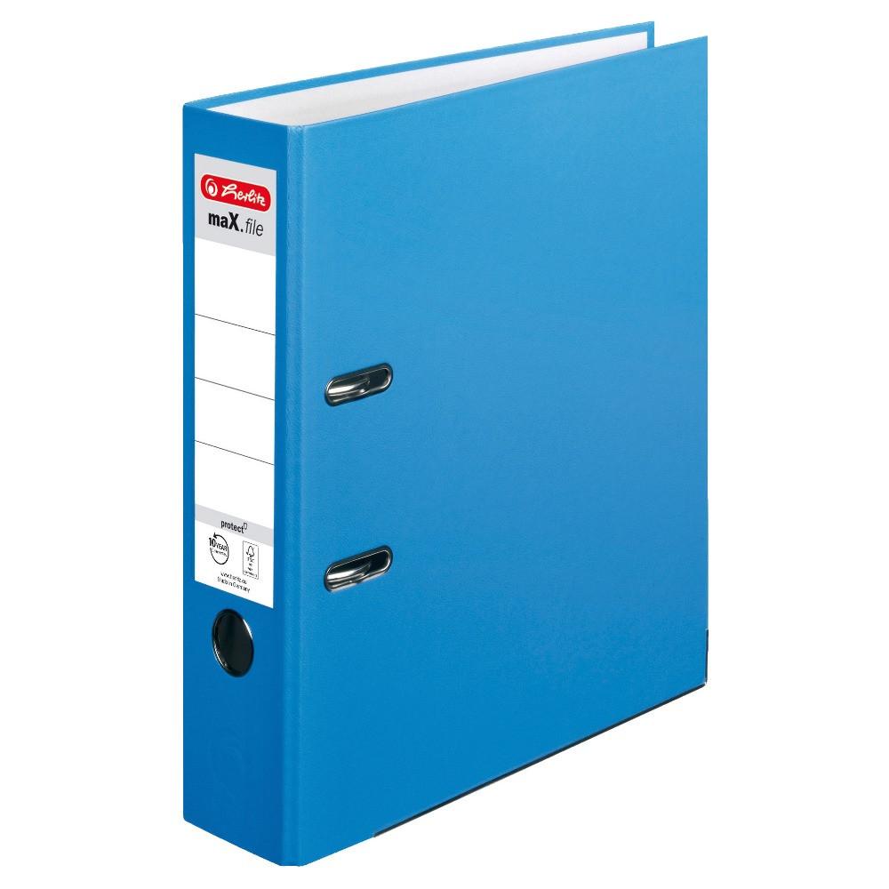 Папка-регистратор Herlitz А4 8см Protect голубая  (10094837)