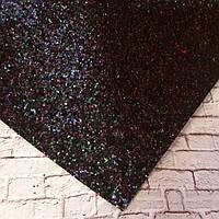 Экокожа крупный блеск 20 х 34 см, 10 листов/уп., черный + мультиколор новинка оптом