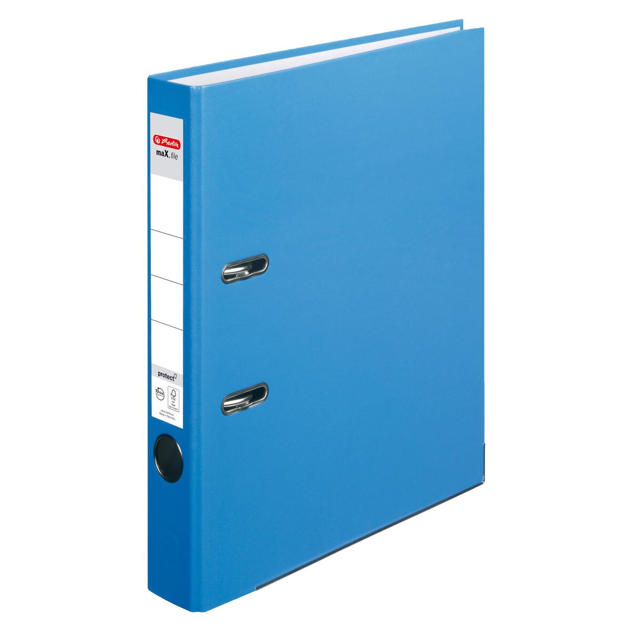 Папка-регистратор Herlitz А4 5см Protect голубая  (10200293)