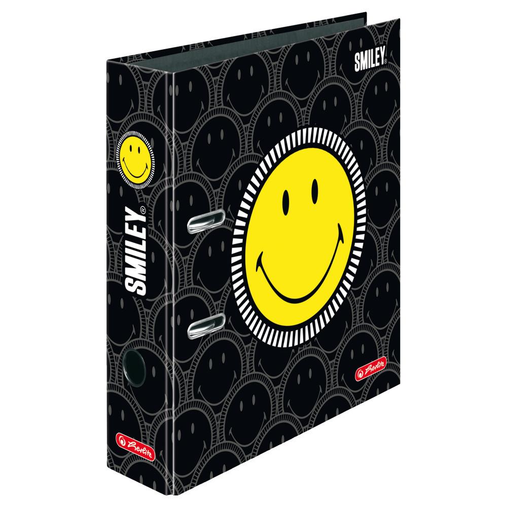 Папка-регистратор Herlitz А4 8см Smiley World Black&Yellow Faces  (50016013)