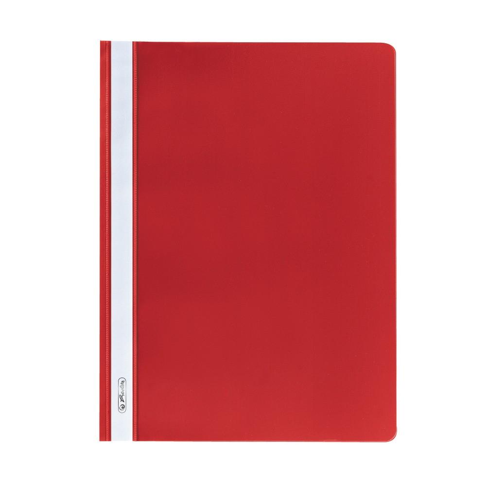 Папка-скоросшиватель Herlitz А4 130/160мкм с прозрачным верхом красная (975433)