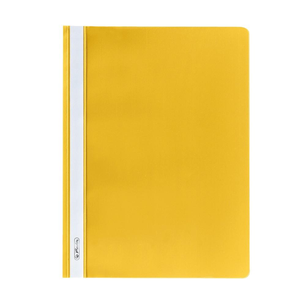Папка-скоросшиватель Herlitz А4 130/160мкм с прозрачным верхом желтая (11387438)