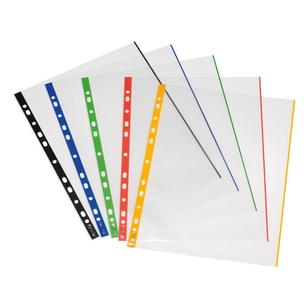 Файлы Herlitz А4 70мкм 10шт глянцевые прозрачные с цветным корешком (10914422)
